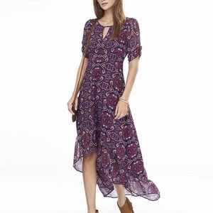 Express Dresses - EXPRESS Pink Tapestry Print Hi-low Key Hole Maxi